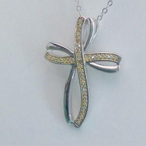 Jewelry - Genuine Natural Yellow Diamond Cross Necklace